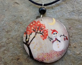 Pendant SNOWMAN - freehand painted wood