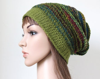 Women's Winter Hat, Crochet Wool Hat, Boho Beanie, Green Teen Girl Chunky Slouchy Beanie with Stripes, Bohemian Clothing