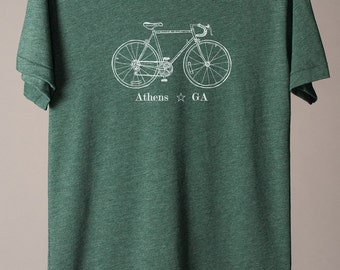 Athens tshirt, American Apparel track tee, bike shirt, city bike tees