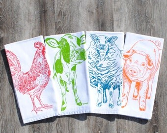 Farm Animal Cloth Napkins - Screen Printed Recycled Cotton Napkins -Sheep Rooster Cow Pig - Washable Reusable - Perfect for Wedding Registry