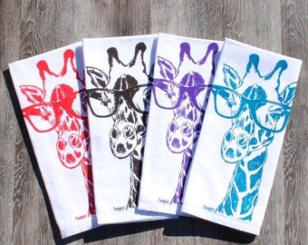 Giraffe Cloth Napkins Set - Screen Printed Table Napkins Set of Four - Reusable Cotton - Red Teal Dark Brown Purple Giraffe Table Napkins