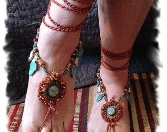 Beaded BAREFOOT Sandals, Barefoot Sandals, Turquoise Barefoot Sandals, Rustic Wedding Shoes, Foot Jewelry, Foot Jewelry Wedding, Ankle Wrap