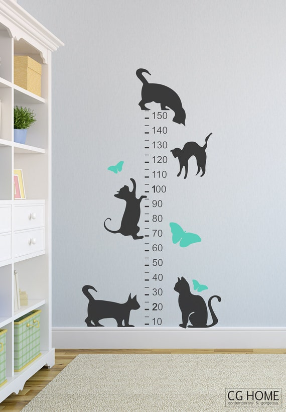 CATS decals Growth Chart Wall DECAL vinyl for children sticker NURSERY decoration Chart Sign of Growth Grow Number Animals Cats Butterfly