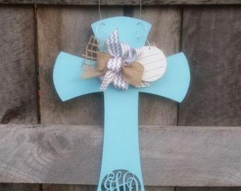 Monogram Hospital Door Hanger - Nursery Wall Hanging - Baby Door Hanger - Baby Shower Gift - Monogram Cross Door Hanger