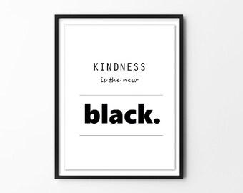 Nursery Wall Art Print // Nursery Decor // Kindness // Minimalist Black & White