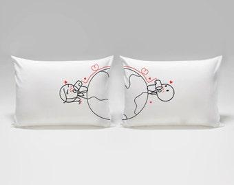 Long Distance Relationship Pillow Covers,Long Distance Relationship Boyfriend Love Gift,BoldLoft Love Has No Distance Couple Pillow Cases