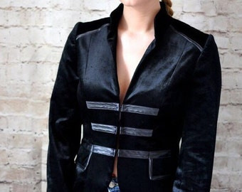 Vintage Black Velvet High Neck Jacket