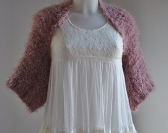 Dusky rose shrug, knitted pink bolero, loose weave dusky rose bolero, dusky pink cardigan, faux fur crop sweater, faux fur dusky rose shrug