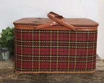 Vintage Plaid Picnic Basket with Interior Shelf Redmon Large Retro Red Yellow Black Carrier Cottage Chic Mid-Century Beach Tote Storage Home