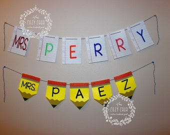 Teacher Name Felt Banner, Custom Personalized Embroidered Teacher's Name, Pencil and Notebook Paper Options