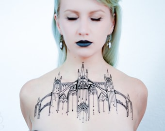 Cathedral Chest Piece Temporary Tattoo