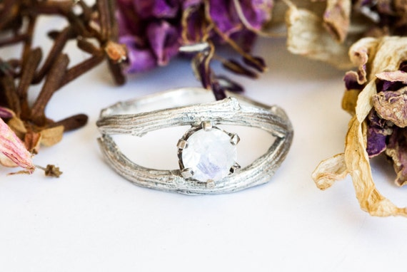 Moonstone sterling silver twig engagement ring, wrap twig moonstone ring, twig engagement ring