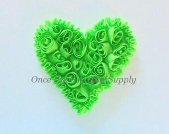 """Lime Green Shabby Chiffon 4"""" Hearts -  Rose Trim - Shabby Chiffon Rosettes - St Patricks Day or Valentine's Day Hairbow Making Supplies"""