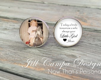 Father of the Bride Cufflinks - Today a BRIDE, Custom Photo Cuff Links - Wedding Cufflinks - Picture Cufflinks - Father of the bride