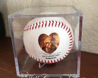 PREGNANCY REVEAL, Pregnancy Announcement, Sonogram gift, Personalized Baseball ,  Baseball, we're having a baby, Father's Day gift