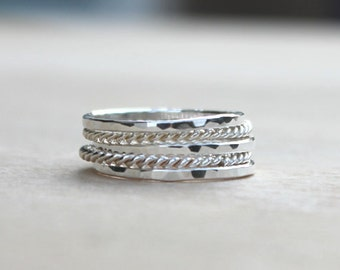 Stackable Ring Set | Stacking Ring | Thin Sterling Silver Ring Set [Nicola Ring Set]