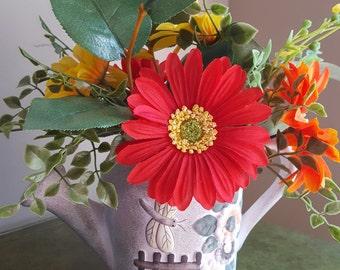 Silk Floral Arrangement, Red, Orange & Yellow Flowers, Silk Flowers, Yellow Gerbera Daisies, Watering Can, Dragonfly, Lemon Leaf, Gardening