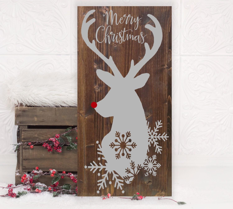 Christmas Reindeer Vinyl Wood Sign 12x24. Holiday
