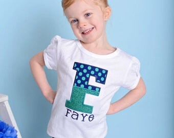 Girl's Personalized Shirt with Aqua Glitter Letter and Embroidered Name