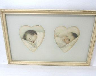 Vintage Framed Illustration Art Print of 2 Babies With Heart Cutout Matte