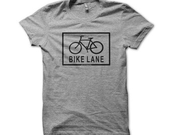Bike Lane, City of Chicago Cycling American Apparel T-Shirt (Black) - K216a