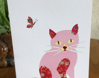 Cat and Butterfly Card, Whimsical Cat, cut paper art, pink cat, orange cat, yellow cat, calico cat
