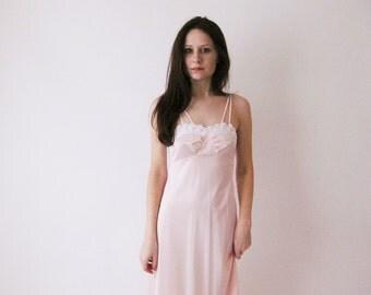 70s Blush Pink Maxi Dress Nightie Small
