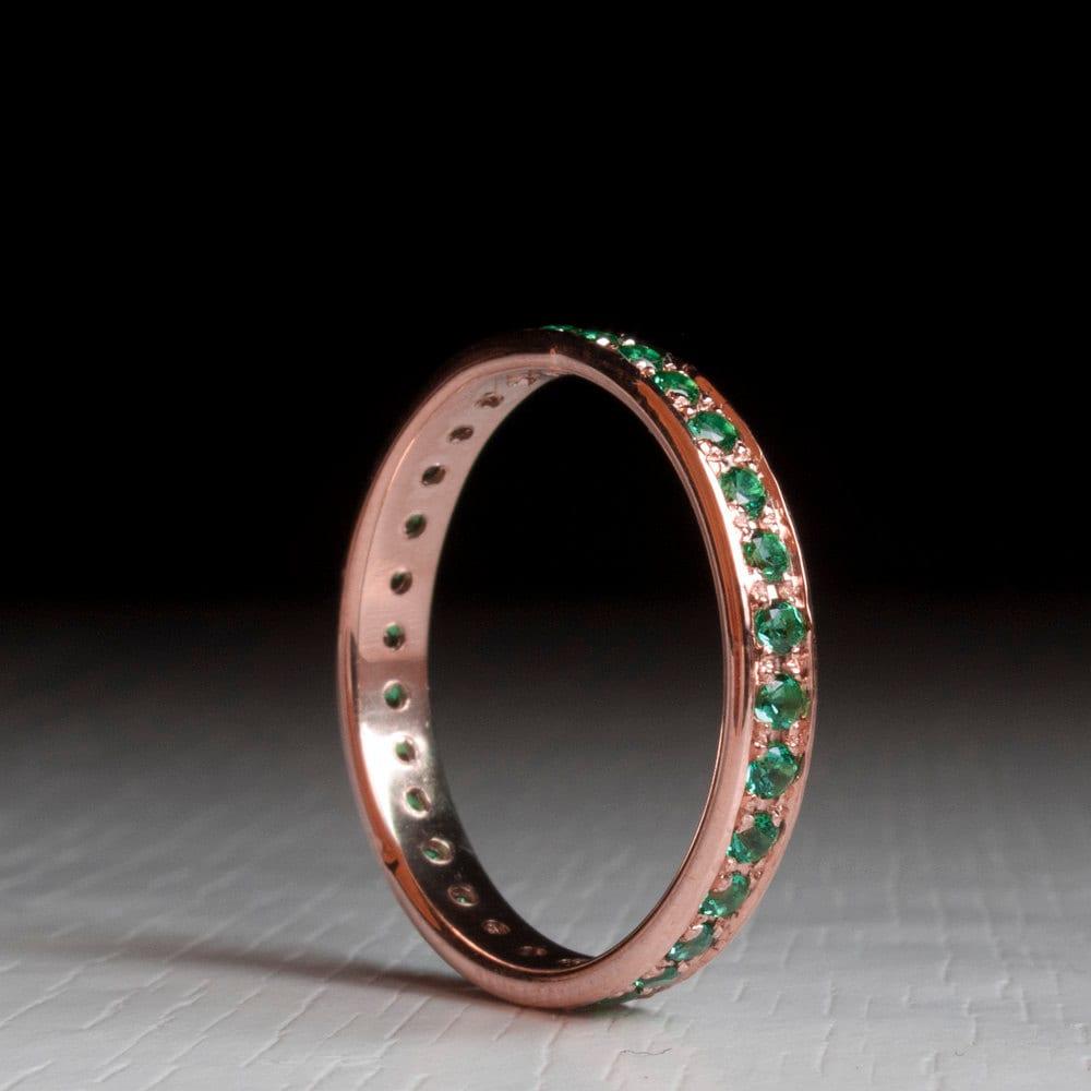 Rose Gold Emerald Eternity Ring