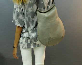 Sale!!! Grey leather shoulder bag and purse Hobo Women purse large bag Soft leather hobo bag purse Supple leather