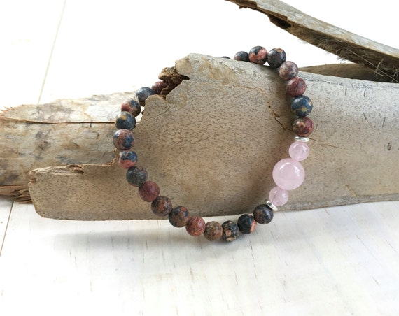 Jasper Stretch Bracelet, Mala Inspired Jewelry, Yoga Bracelet, Rose Quartz and Leopardskin, Boho Style Jewelry, Natural Healing Bracelet