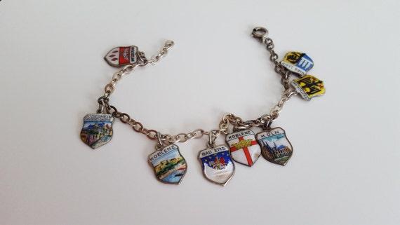 Vintage Travel Charm Shield Silver 800 Enamel Germany Bracelet Souvenir REU KARO ANTIKO Charms