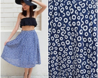 1970 Vintage Skirt/ Molecular Ring Skirt / Small Skirt/ Blue Skirt/ Midi Skirt/ Pleated Skirt/ Flowy Skirt/ Summer Skirt/ Spring Skirt/ 70's