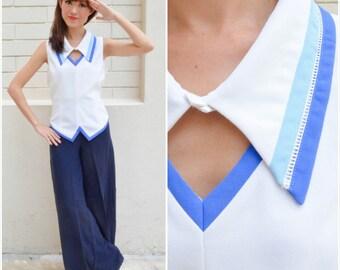 1960 Vintage Blouse/ Sailor Bunny Blouse/ Medium Blouse/ Large Blouse/ Blue Blouse/ Sailor Blouse/ Detachable Collar/ Summer Beach Blouse