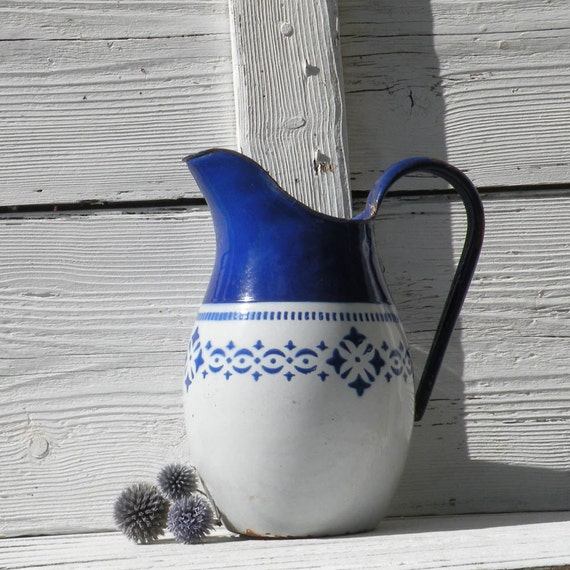 French vintage shabby chic enamel jug, French antique shabby chic pitcher, vintage pitcher, antique pitcher, enamel pitcher, enamel jug