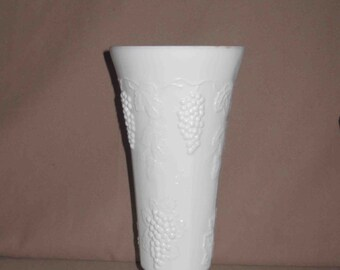 Vintage Large White Milk Glass Footed Vase With Raised Grape Design