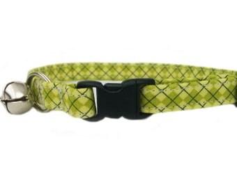 Preppy Green Argyle Cat or Kitten Breakaway Safety Collar