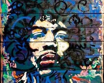 Reclaimed Wood Art Jimi Hendrix Art by Matt Pecson Pallet Art Wood Wall Art Original Painting Wall Decor Wall Hanging MADE TO ORDER