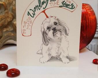 Shih Tzu Dog Holiday Card