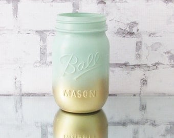 Great Ombre Jars   Mint Wedding Decor   Mint Mason Jar   Mint Decor   Mint And