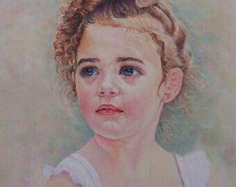 Child Portrait Painting, Custom Pastel Portrait from  Photo,  Portrait Art