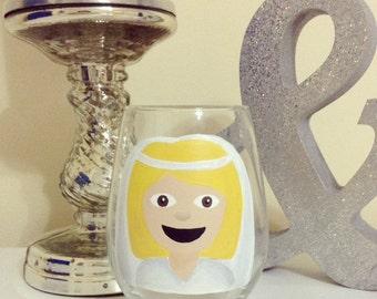 Bride Emoji Wine Glass