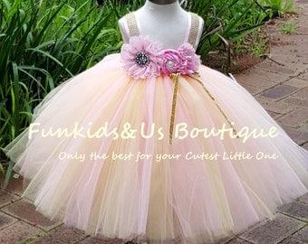 Pink and Gold Flower Girl Dress  -Full length  Dress Wedding Dress Birthday  Tutu Dress 1t 2t 3t 4t 5t