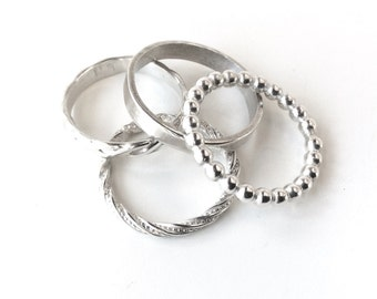 Sterling Silver Ring Set of 4 - stacking bands set - Sterling Silver - assorted design stackable rings - Hallmarked 925