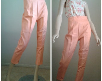 PEACHY Vintage 50's  Capri pants/1950's /Cotton Textured/Orange/High Waisted Pants Rockabilly~Pinup Girl/ Mad Men/Size Medium/ Deadstock