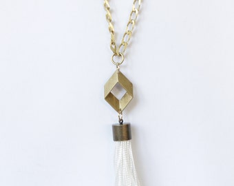 Brass and white tassel necklace