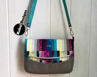 READY TO SHIP Fold-over Crossbody bag in AvantGarde fabric