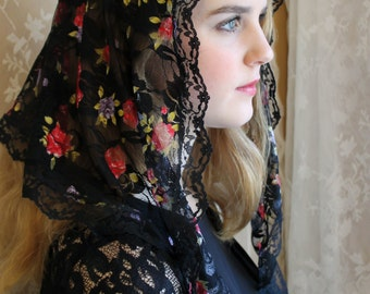 Evintage Veils~ Black French Lace Watercolor Flowers Chapel Veil Mantilla Triangle