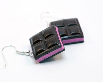 strawberry  Chocolate Bar earrings Handmade , Chocolate earrings, chocolate jewelry, miniature food jewelry, polymer clay chocolate