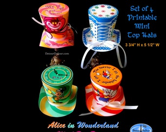 1/2 OFF COUPON Mad Hatter Hats, Printable Alice in Wonderland Hats, Set of 4 Printable Hats, Alice in Wonderland Mad Tea Party Hats (A-010)