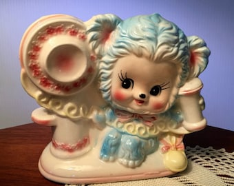 Vintage ceramic lamb with telephone planter by Rubens for nursery